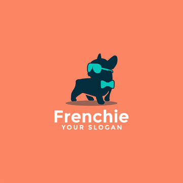 cute adorable french bulldog logo, dog logo