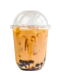 Taiwan milk tea with bubble, Bubble milk tea with Clipping Path.