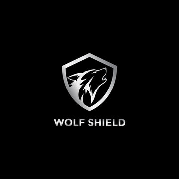 Abstract wolf metal shield  logo