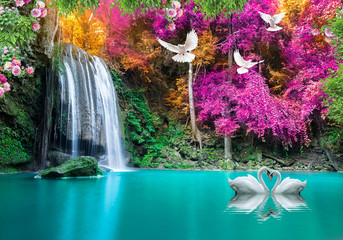 Recess Fitting Waterfalls 3d background nature wallpaper