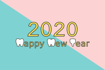Happy New Year 2020, tooth with number - dental cartoon vector flat style