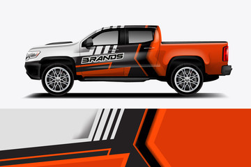 Fototapete - truck and car decal design vector kit. abstract background graphics for vehicle advertisement and vinyl wrap - vector eps 10