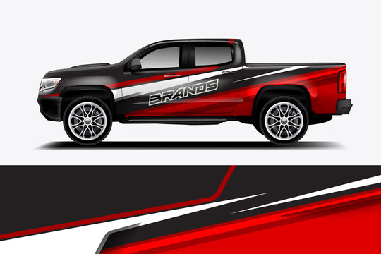 truck and car decal design vector kit. abstract background graphics for vehicle advertisement and vinyl wrap - vector eps 10