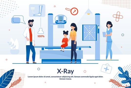 Informative Poster X-ray Laboratory Cartoon Flat.