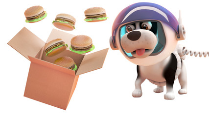 3d puppy dog in astronaut spacesuit watching cheeseburgers spill from a cardboard box in zero gravity, 3d illustration