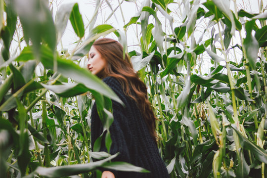 Beautiful carefree long hair asian girl in the yellow hat and knitted sweater in autumn corn field. Blurred model