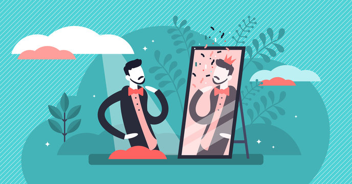 Narcissistic vector illustration. Tiny self love behavior persons concept.