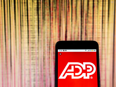 Kiev, Ukraine, December 20, 2018, illustrative editorial. ADP, LLC Management services company  logo seen displayed on smart phone