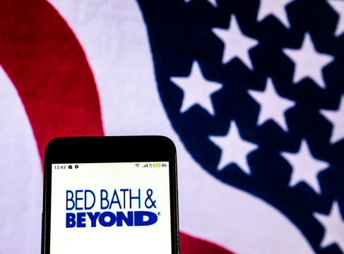 Kiev, Ukraine, December 20, 2018, illustrative editorial. Bed Bath & Beyond Retail-store company  logo seen displayed on smart phone