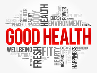 Good Health word cloud collage, health concept background