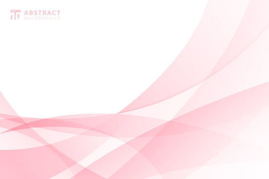Abstract modern light pink wave element on white background with space for your text.