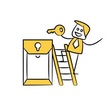 businessman holding key on ladder yellow stick figure design