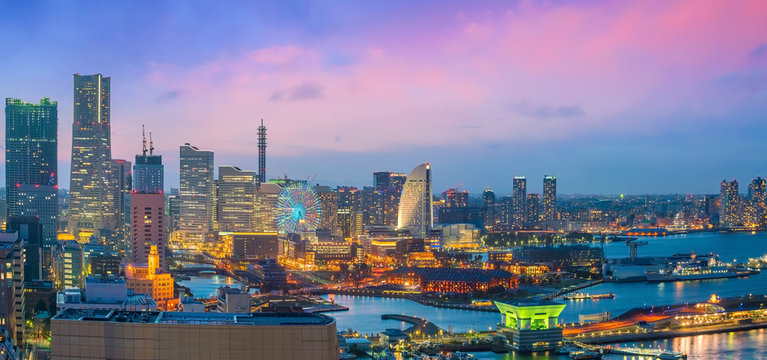 Yokohama city skyline from top view at sunset