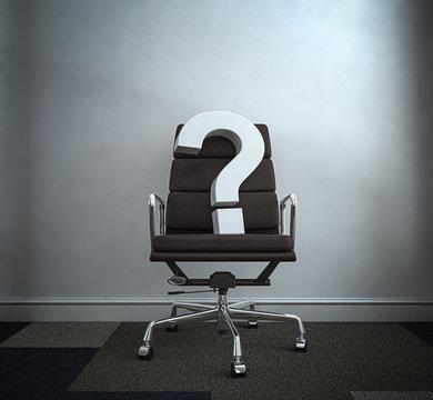 Chefsessel Bürostuhl mit Fragezeichen