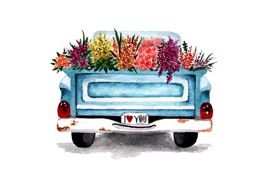 car pickup with flowers in the back painted in watercolor