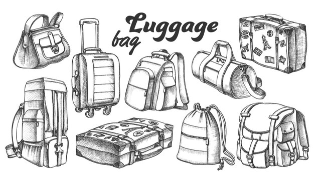 Collection Of Different Luggage Ink Set Vector. Assortment Of Luggage Bag For Business Trip, Extreme Tourist Travel. Modern And Retro Suitcases Designed In Vintage Style Black And White Illustrations