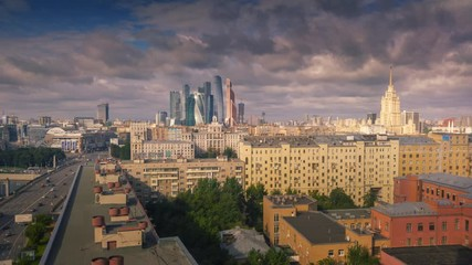 Fototapete - Aerial panorama of Moscow City skyline. Zoom out. Timelapse, 4K UHD.