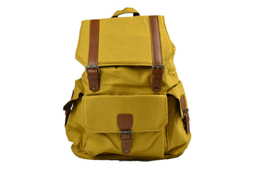 Canvas Backpack accessories isolated hipster background white. brown with yellow mustard canvas bag. Hand made backpack for travelers. front view
