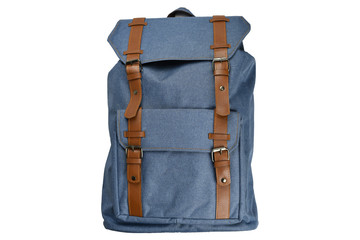 Canvas Backpack accessories isolated hipster background white. Blue with brown bag. Hand made...