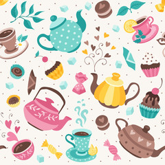 teapots and cups pattern