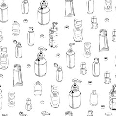 Seamless pattern with  hand drawn sketch of cosmetic package. Bottle, tube, flask. Monochrome elements isolated on white background.