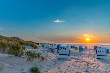Fototapete - Sunset at the beach on Juist, East Frisian Islands, Germany.