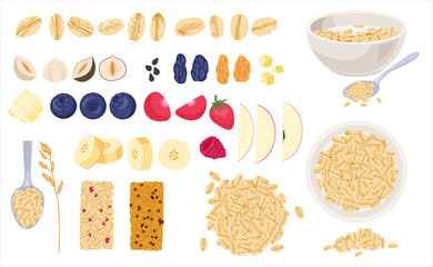 Realistic muesli on transparent background set with isolated images of cereals spreading and bars with text vector illustration fruits
