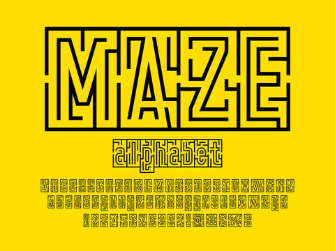 Vector of modern abstract maze style alphabet design