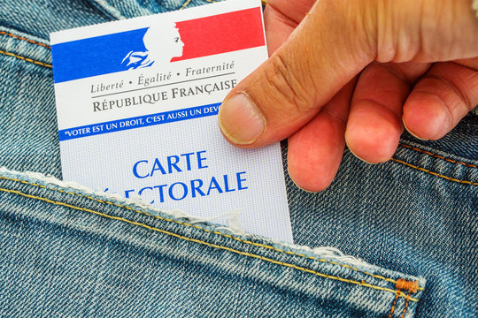 French electoral card out of the pocket of a jeans, 2017 presidential and legislative elections concept