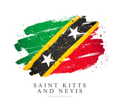 Flag of Saint Kitts and Nevis. Vector illustration on a white background.
