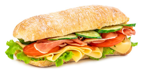 Poster Snack Ciabatta sandwich with lettuce, tomatoes prosciutto and cheese isolated on white background