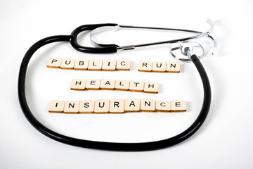 Medical Health Care,Stethoscope surrounding public health insurance.