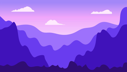 Photo sur Plexiglas Violet Vector landscape in trendy flat simple style. Nature background with gradient sky, mountains and forest