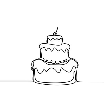 Continuous line drawing Birthday cake with candle. Symbol of celebration happy moment on white background vector illustration minimalism.