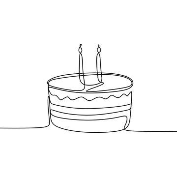 Single line drawing birthday cake minimalism design vector illustration