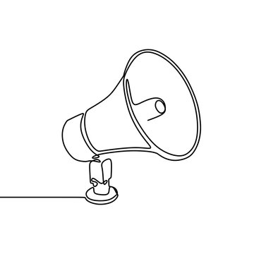 Continuous line drawing of horn speaker sign and symbol for announcement and employee hiring
