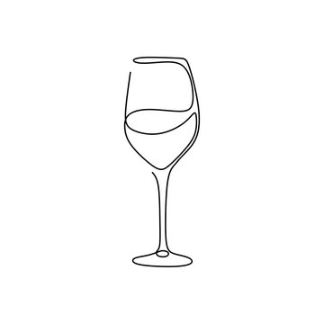 Continuous one line drawing wine glass isolated on white background vector illustration minimalism design of beverage element.