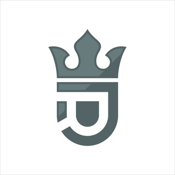 Black Crown of King or Queen. Shield icon. letter D. Vector logo.