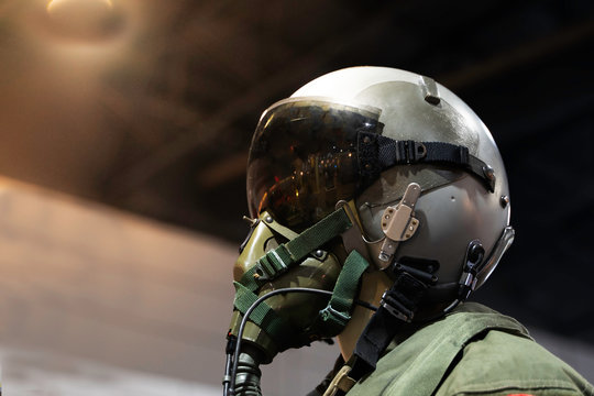 clothing for pilots or Fighter pilot suit on black background