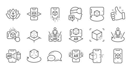 Augmented reality line icons. VR simulation, Panorama view, 360 degrees. Virtual reality gaming, augmented, full rotation arrows icons. Linear set. Quality line set. Vector