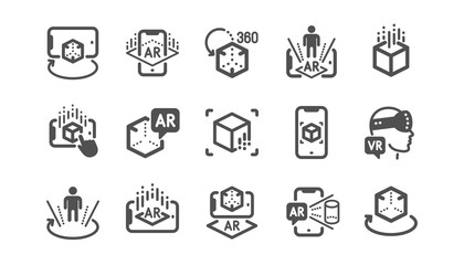 Augmented reality icons. VR simulation, Panorama view, 360 degrees. Virtual reality gaming, augmented, full rotation arrows icons. Classic set. Quality set. Vector Wall mural