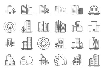 Obraz Buildings line icons. Bank, Hotel, Courthouse. City, Real estate, Architecture buildings icons. Hospital, town house, museum. Urban architecture, city skyscraper, downtown. Line signs set. Vector - fototapety do salonu