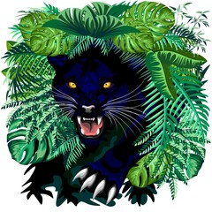 In de dag Draw Black Panther Jungle Spirit coming out from the Jungle Vector illustration
