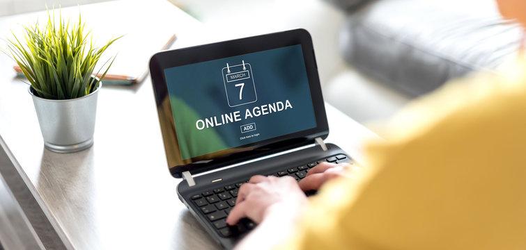 Online agenda concept on a laptop screen
