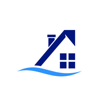 Home or Resort Vector Logo. Water or Beach Icon and Symbol. Eps 10.