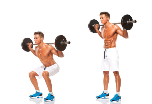 Barbell Squats , start and finish position