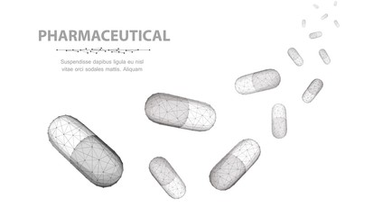 Pills. A lot of capsule pills falling down isolated on white background. Medical pharmacy, health, many vitamin, antibiotic pharmaceutical, treatment concept. Wall mural