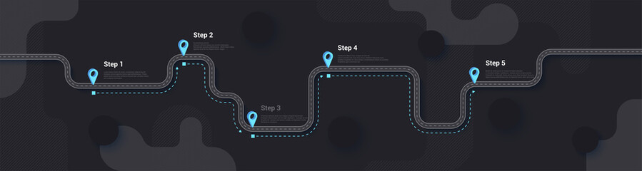 Road map and journey route infographics template. Winding road timeline illustration. Dark theme. Flat vector illustration. Eps 10 Fototapete