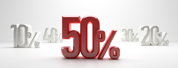 Sale 50%. 50 percent discount text on white background, banner. 3d illustration