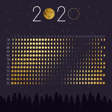 Moon calendar 2020 years in golden gradient. Eps 10.